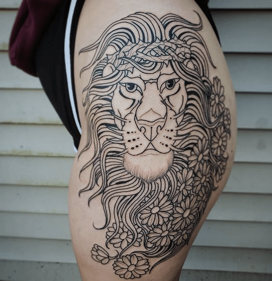 Lion of Judah with flowers tattoo by @jballardtattoos