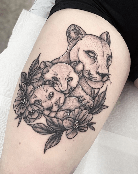 Lioness with two cubs tattoo by @jasminecrossi