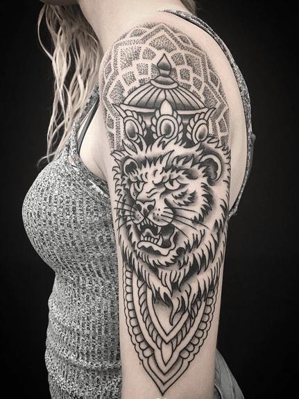 Mandala King of Judah tattoo by @sita_rama