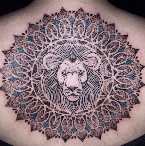 Mandala lion head tattoo by @wilcovongekko