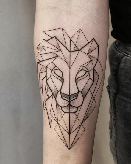 Minimalistic geometric lion tattoo by @irene_illusia
