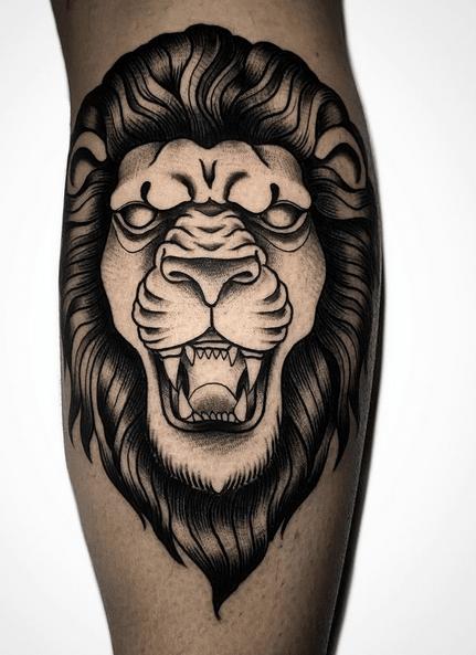 Neotraditional lion tattoo by @marziobellomo_staytrue