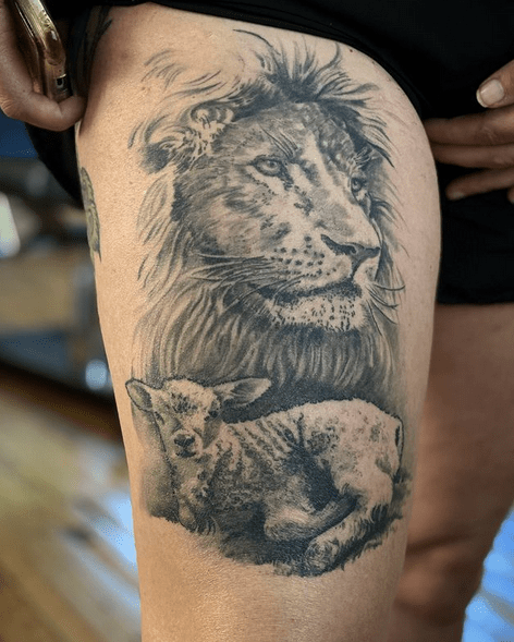 Peaceful lion and lamb tattoo by @chrischavers