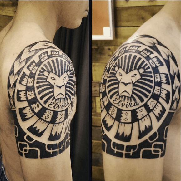 Polynesian tribal lion tattoo by @joelricetattoo