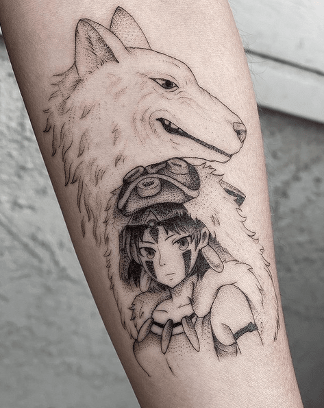 Princess mononoke anime tattoo by @jhobsontattoo