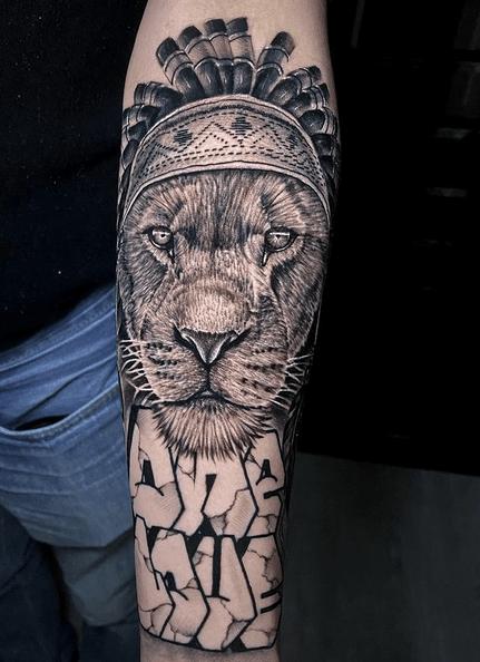 Rastafari lion tattoo on the forearm by @kmel_tattoo