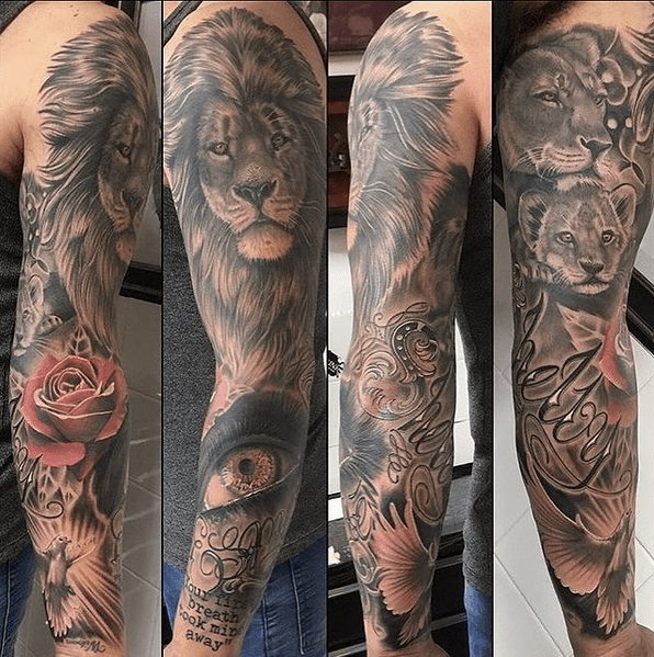 Realistic lion tattoo sleeve by @ravenskincowes