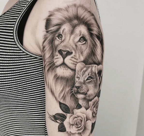 Shoulder lion and cub rose tattoo by @sarah_tavilla
