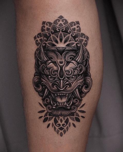 Small mandala fu lion tattoo by @yutta_tattoo