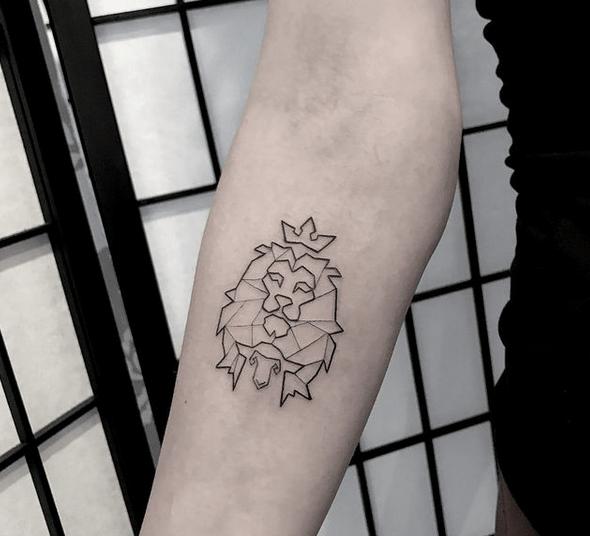 Small minimalistic geometric lion and lamb tattoo by @danaexlynn