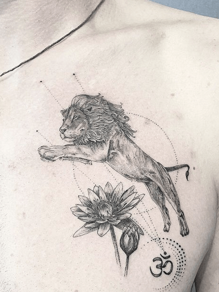 Small zen lion tattoo by @kiyantattoo_
