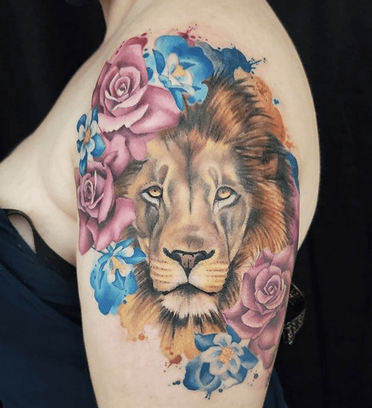 Watercolor lion tattoo with flowers by @artbybreab
