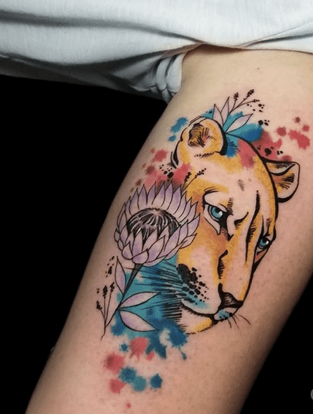 Watercolor lioness tattoo by @sara.caturani
