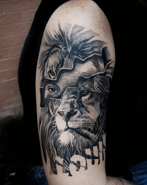 Woman lion head tattoo by @hasankhraisstattoos
