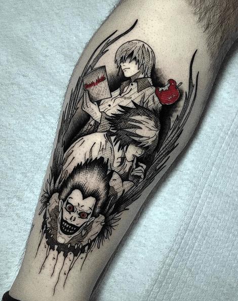 death note tattoo by @gianluca.noir