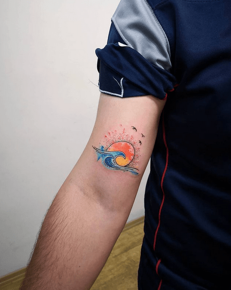 Colorful sun and wave tattoo by @dovmemarket
