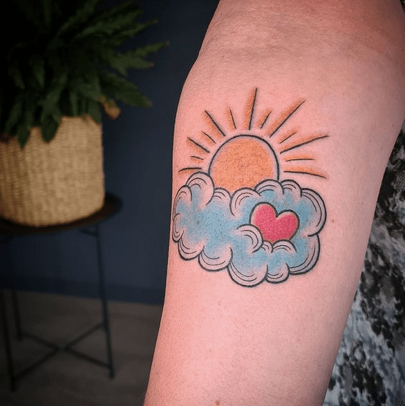 Cute and colorful sunrays and clouds tattoo by @topspeedtommy