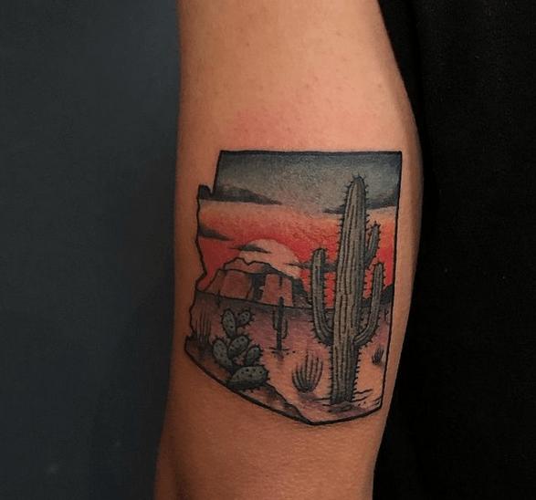 Desert sunrise tattoo by @tattoopaulski