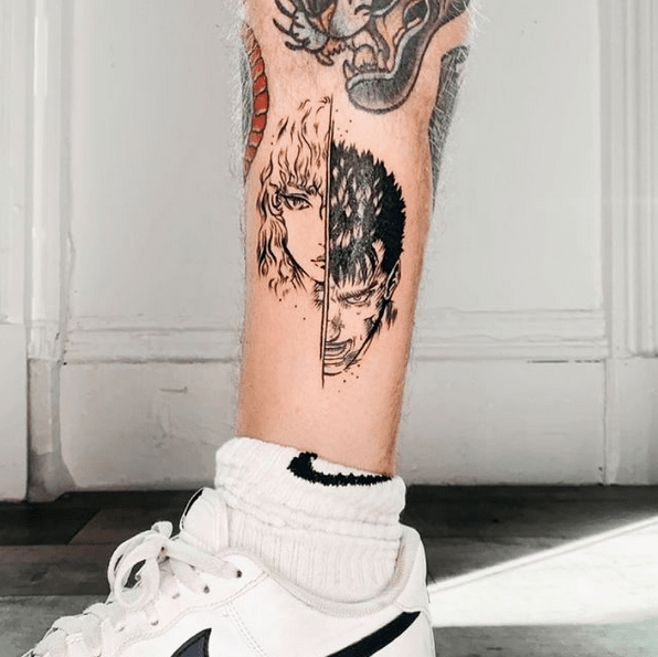 Griffith Guts Berserk tattoo by @dan__draws