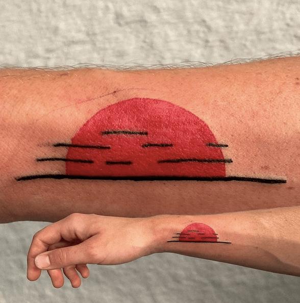 Minimalistic sunrise tattoo by @imwolfspelz