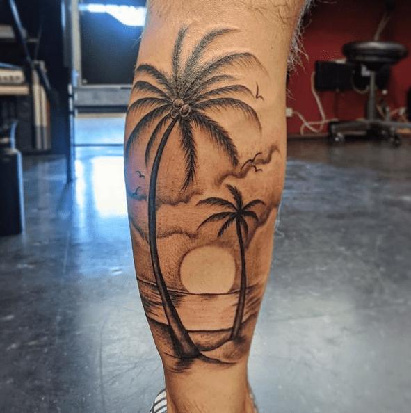 Palm beach sunrise tattoo by @unkle_sam_tatu