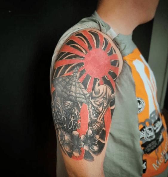 Samurai Japanese rising sun tattoo by @doctorhorrorink