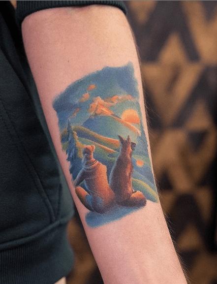Soft colored sunrise tattoo by @mikhalenkov
