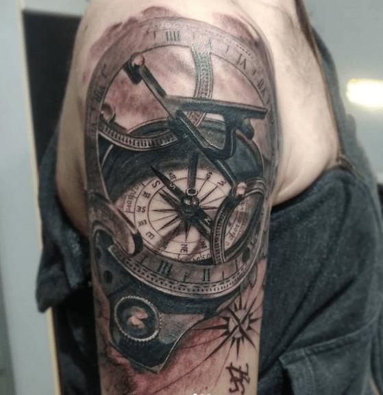 Solar compass tattoo by @sergeyrikhter