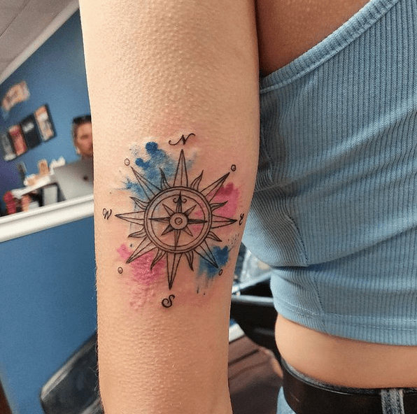 Sun and watercolor compass by @stevenmichaelsaturn