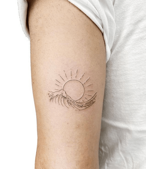 Sun and wave outline tattoo by @pobitattooo