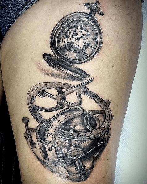 Sun compass tattoo by @sauliusmok