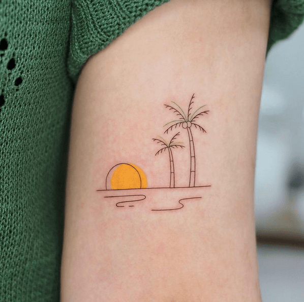 Tiny sun and wave tattoo by @som__tattoo