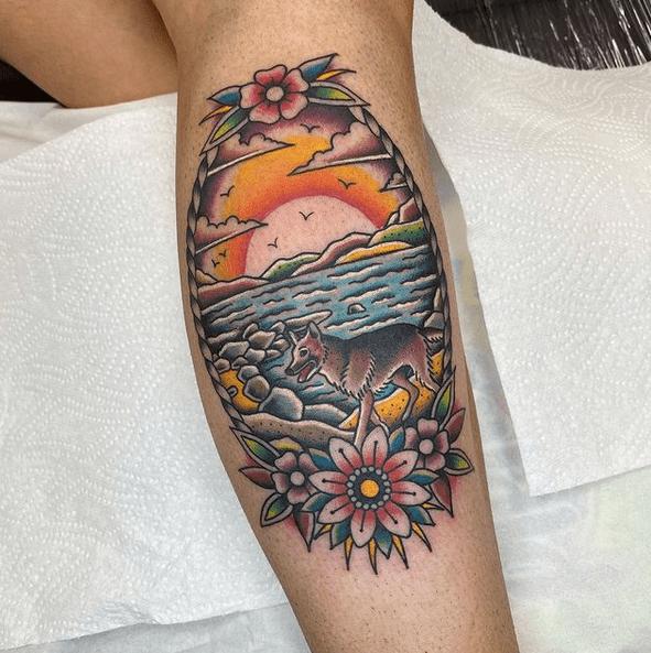Traditional sunrise tattoo by @roberto_poliri_tattooer