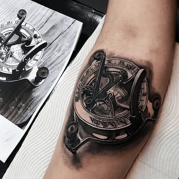 Vintage solar compass tattoo by @marcoswright01