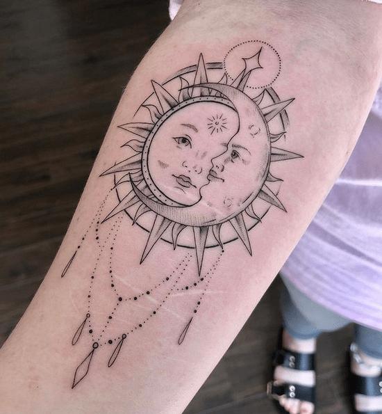 Chandelier sun and moon tattooby @megluantattoo