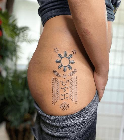 Filipino sun tribal tattoo by @tatakbyayla