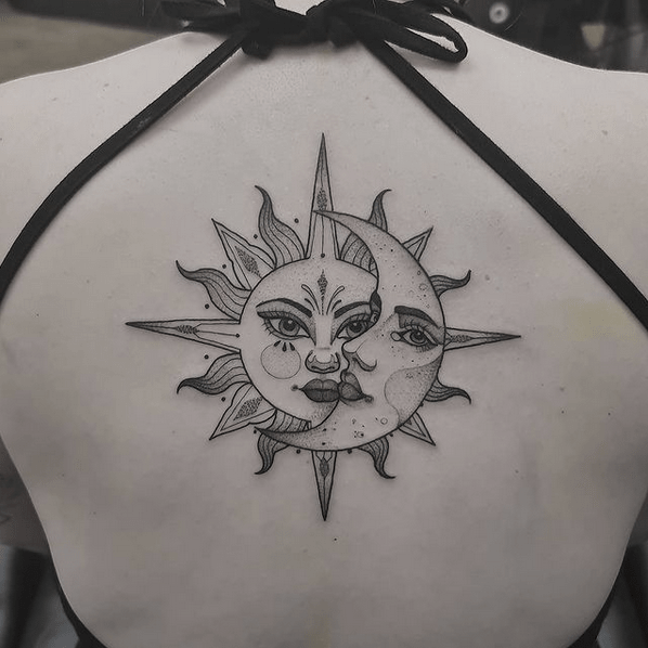 Fine line sun and moon tattoo by @dvincent_tattoo