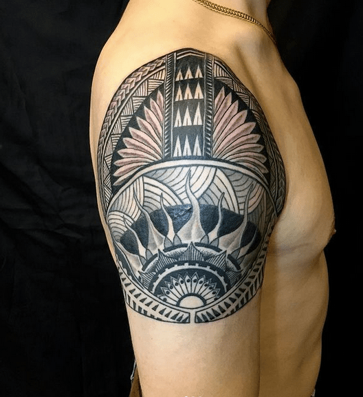 Full shoulder Polynesian tribal sun tattoo by @_tylerrosso