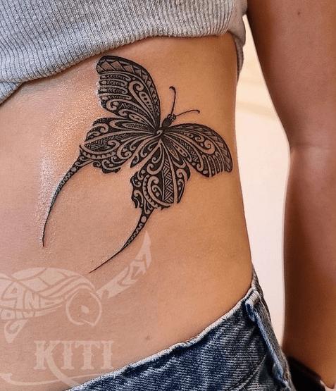 Polynesian tribal butterfly tattoo by @kiti_ta_tatau