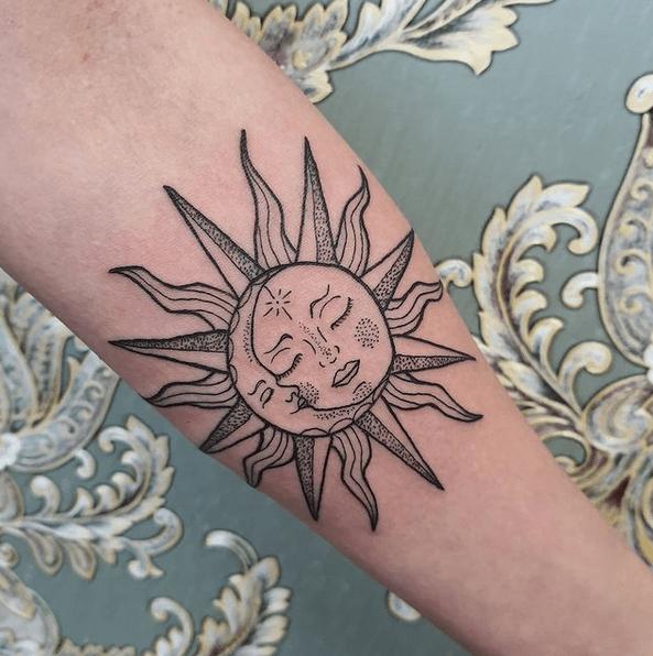 Romantic calm sun and moon tattoo by @smokeyfoxtattoo