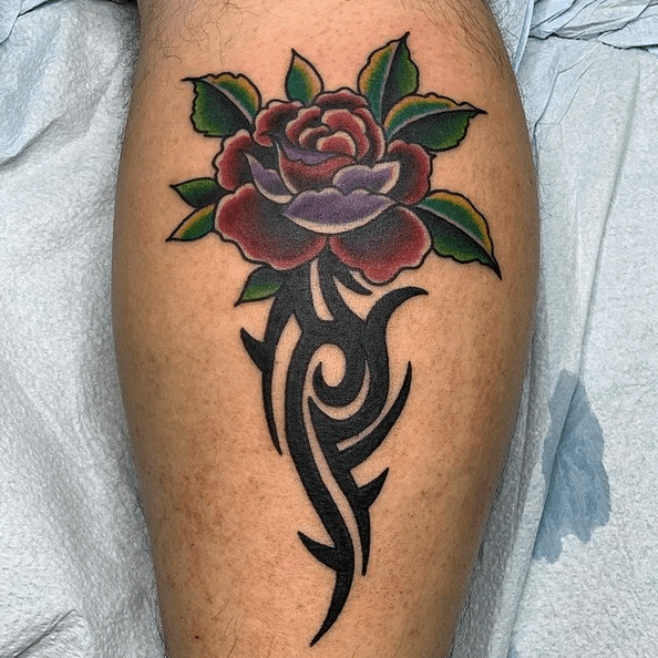 Traditional tribal rose tattoo by @tejashua