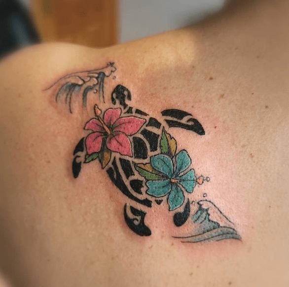 Tribal turtle tattoo with waves by @kkniinkk