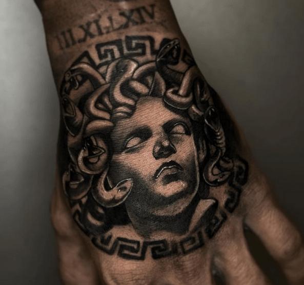 Dark medusa hand tattoo by @fontattoox