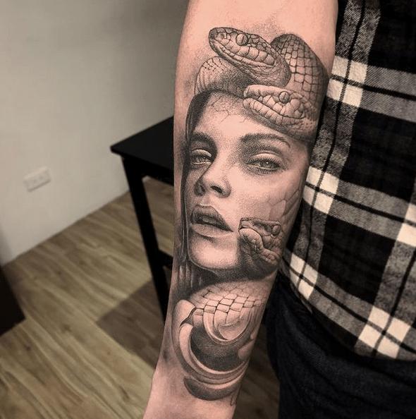 Forearm medusa tattoo by @shu_tattooart