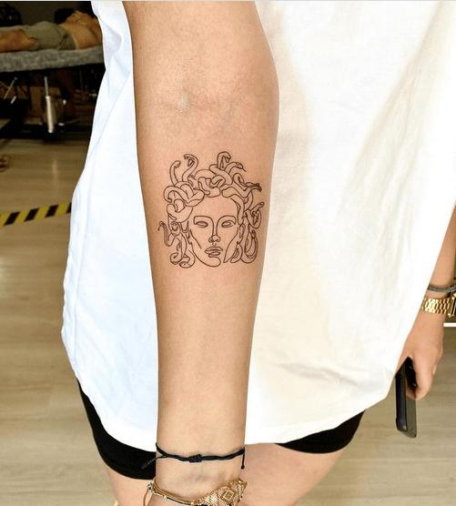 Medusa outline tattoo by @tattoozge