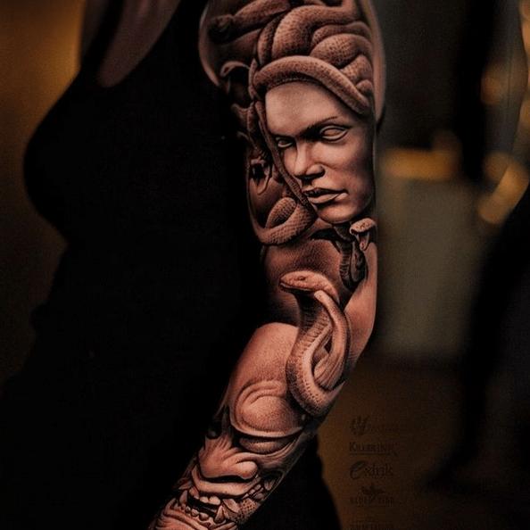 Mix of cultures Medusa and Hannya arm sleeve by @decrepit_ef