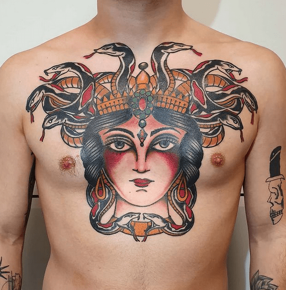 Neotraditional chest medusa tattoo by @m.sesini