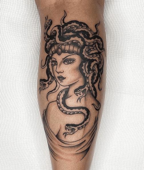 Neotraditional medusa tattoo by @nikotattooartist