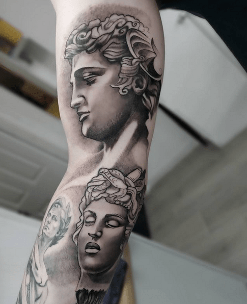 Perseus Medusa sleeve tattoo by @spectre_tattoos