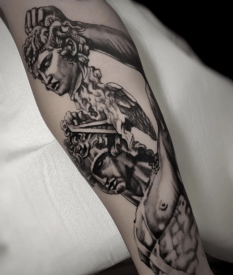 Perseus Medusa tattoo by @davidetacconelli_